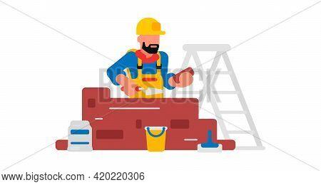 Worker Laying Bricks. Builder And Brickwork. A Bag Of Cement, A Spatula, A Bucket, A Stepladder. Vec
