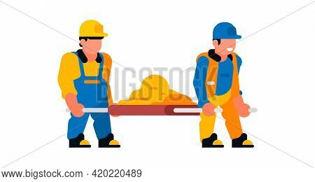 Workers Carrying Sand On Stretchers. Builders And Sand. Vector Illustration Isolated On White Backgr