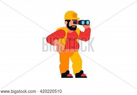 A Worker Looking Through Binoculars. Builder And Binoculars. Observation, Search, Spy. Vector Illust