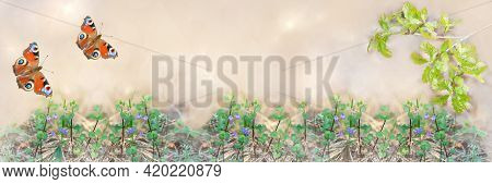 Wide-screen Unfocused Background Of A Forest Clearing, With An Oak Branch And A Butterfly