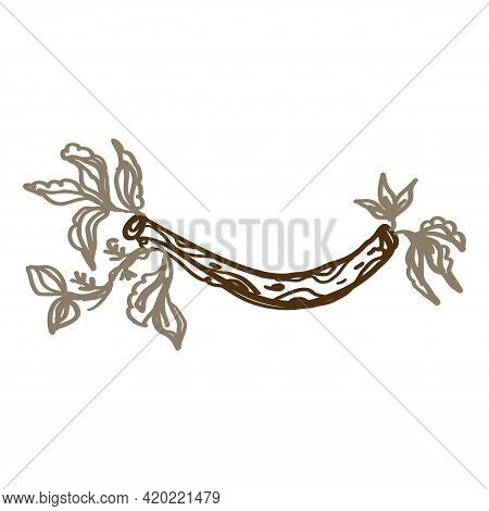 Naive Carved Doodle Neutral Flower Motif Icon. Cute Rustic Folk Silhouette Illustration Clipart. Dec