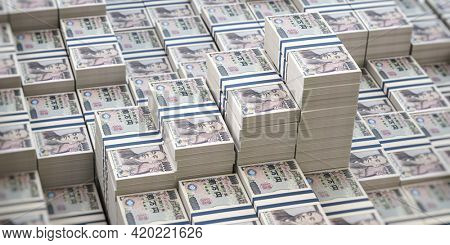 Yen packs background. Growth of income and financial prosperity concept. 3d illustration