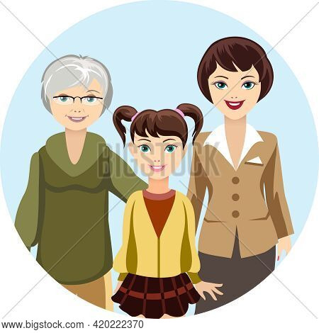 Colored Graphic Design Of Cartooned Females In Different Ages - Girl  Woman And Granny  With Smiling