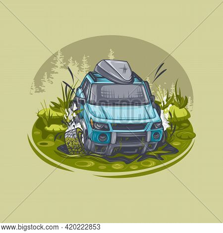 Blue Suv Is Stuck In A Swamp And Is Trying To Get Out. Can Be Printed On T-shirts.