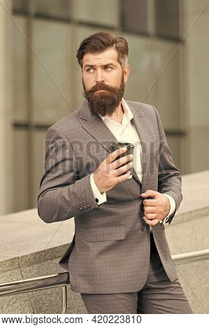 Bearded Businessman Drink Coffee To Go. Formal Man In Office Suit Drinking Coffee From Paper Cup. Go