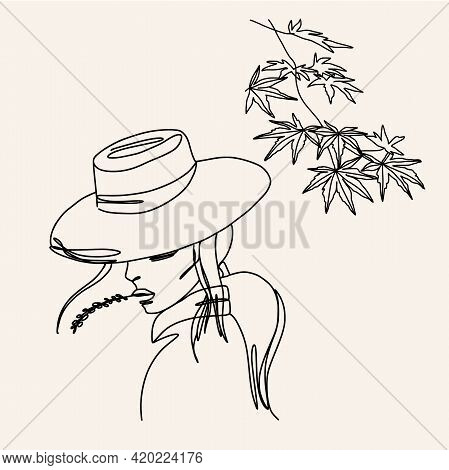Abstract Continuous Line Drawing. A Girl In A Hat With Organic Spapes Detals.