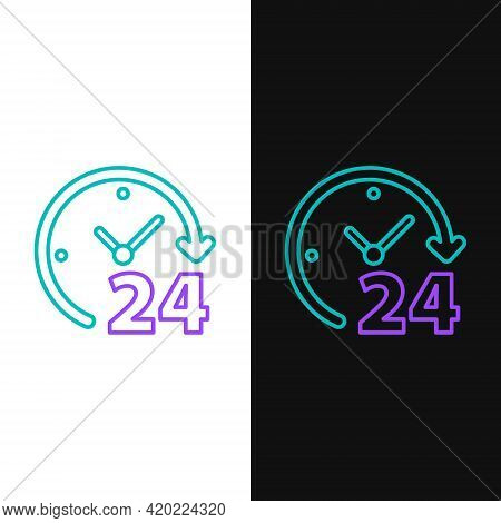 Line Clock 24 Hours Icon Isolated On White And Black Background. All Day Cyclic Icon. 24 Hours Servi