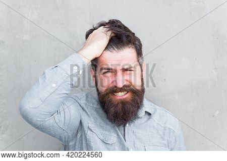 Pain And Migraine. Man Bearded Hipster Painful Grimace. Painful Face Expression. Painful Experience