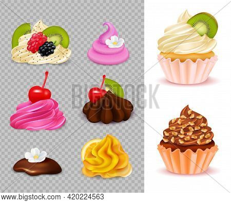 Cupcake Constructor With Various Appetizing Toppings Set On Transparent Background And 2 Ready Desse