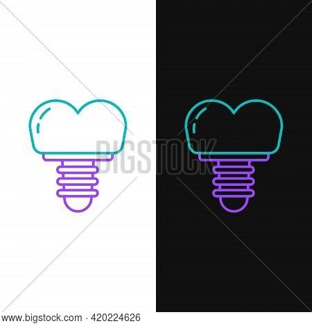 Line Dental Implant Icon Isolated On White And Black Background. Colorful Outline Concept. Vector