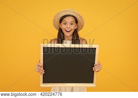 Beginning Of School Year. Happy Child Hold School Blackboard. Little Girl Back To School. School Tim