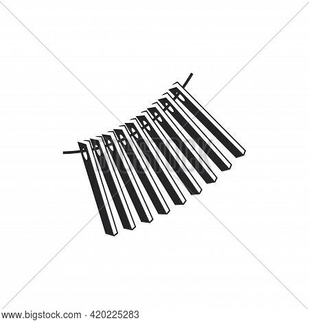Black Filled Percussion Icon. Ratchets Musical Instrument