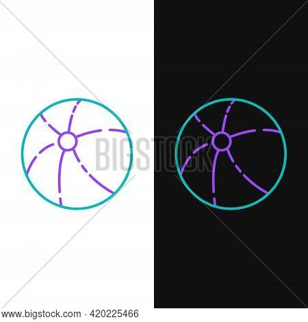 Line Beach Ball Icon Isolated On White And Black Background. Colorful Outline Concept. Vector