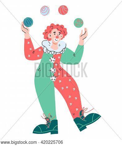 Circus Clown Juggler Cartoon Character In Funny Scenic Costume. Kids Circus Entertainment, Cartoon V
