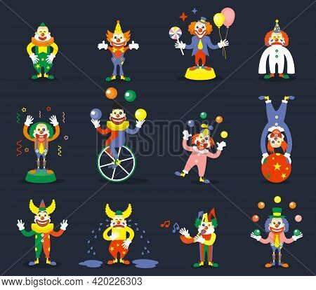 Clown Vector Characters Set. Smile Or Cry, Juggle Performer, Show Carnival, Comedian And Joker Illus