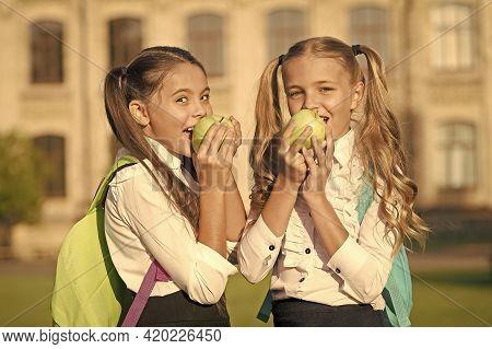 Ensure Healthy Daily Balance. Happy Girls Eat Apples Outdoors. School Snack. Healthy Diet. Vegetaria