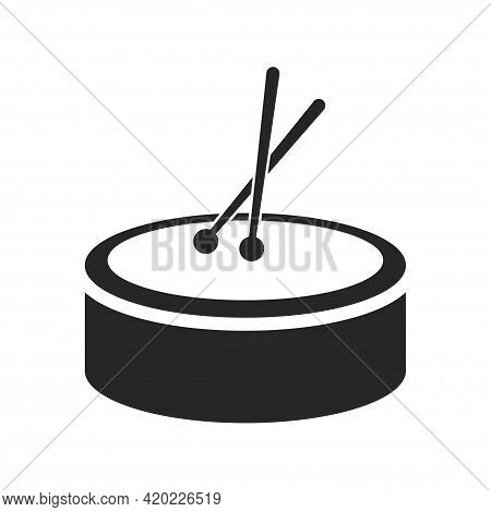 Black Filled Drum With Sticks. Musical Percussion Instrument Icon