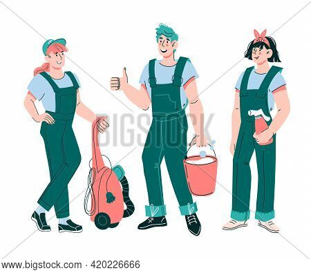 Cleaning Staff Characters With Cleaning Equipment And Tools, Cartoon Vector Illustration Isolated On
