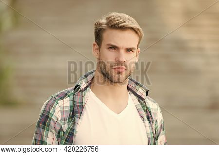 Portrait Good Looking Man Casual Style, Fashion Model Concept