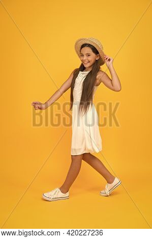 Energetic Active Child Enjoy Vacation. Carefree And Happy. Summer Vacation Outfit. Ready To Relax. T