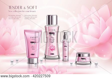 Cosmetics Products Series Advertising Composition On Pink Sparkling Background With Lotus Flowers An