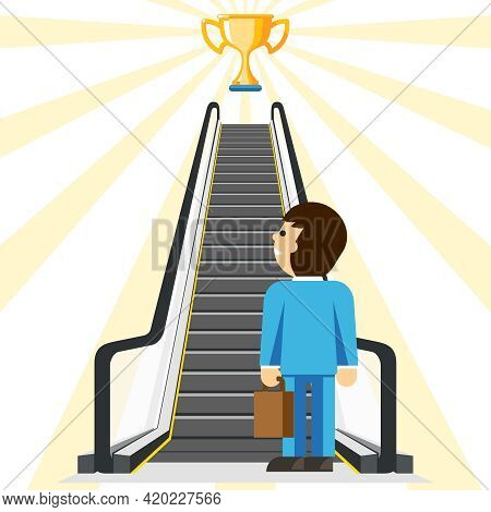 Business Consulting. Comfortable Way To Success. Goal And Cup, Achievement And Stair, Step Comfort,