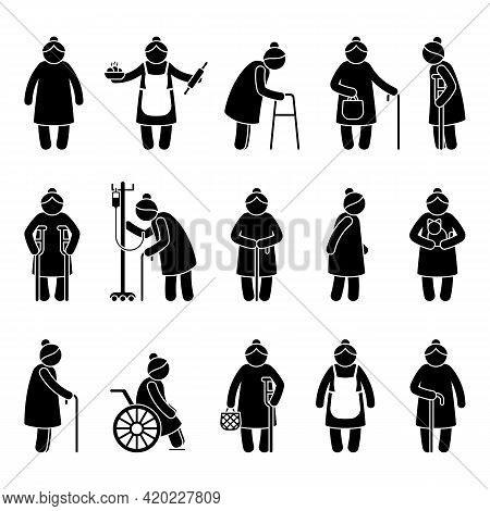 Grandmother Stick Figure Woman Walking, Standing With Walker, Cane, Crutch, Drop Counter, Cat, Sitti
