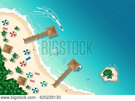 Aerial View Of The Tropical Beach And Islands. Summer Travel. Horizontal Vector Illustration In Cart