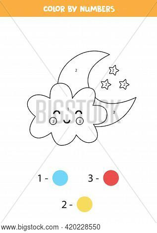Color Cute Kawaii Cloud With Crescent By Numbers. Worksheet For Kids.
