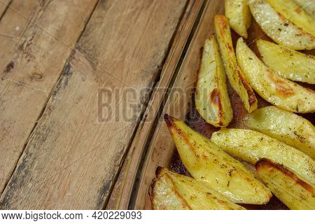 Fried Potato Wedges. Homemade Fried Food. Fried Vegetables. Tasty Food. There Is A Place For Text