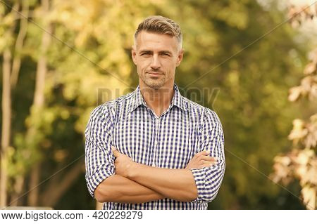 Attractive Adult Man. Rest And Relax. Sunny Spring Day. Confident Man. Good Looking Guy Outdoor. Mal