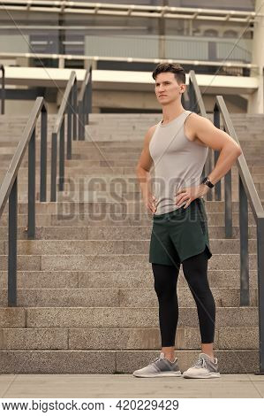 Guy Wearing Sportswear. Muscular Young Fitness Sports Man Athlete In Compression Garment. Staying Fi