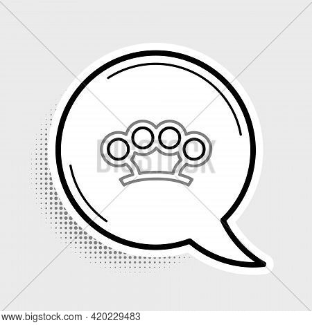 Line Brass Knuckles Icon Isolated On Grey Background. Colorful Outline Concept. Vector