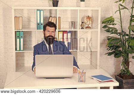 Managing Business. Manager Sit At Office Desk. Office Manager Work On Computer. Project Manager In F