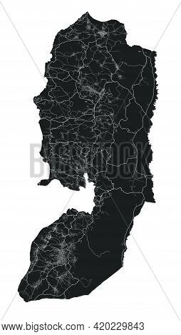 West Bank And Gaza Map. Detailed Vector Map Of West Bank And Gaza Administrative Area, Land Poster M