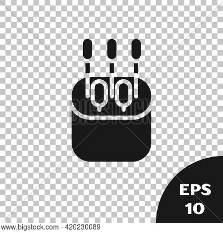 Black Cotton Swab For Ears Icon Isolated On Transparent Background. Vector Illustration