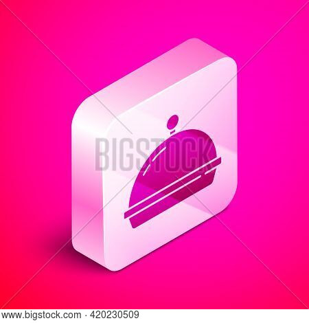Isometric Covered With A Tray Of Food Icon Isolated On Pink Background. Tray And Lid. Restaurant Clo