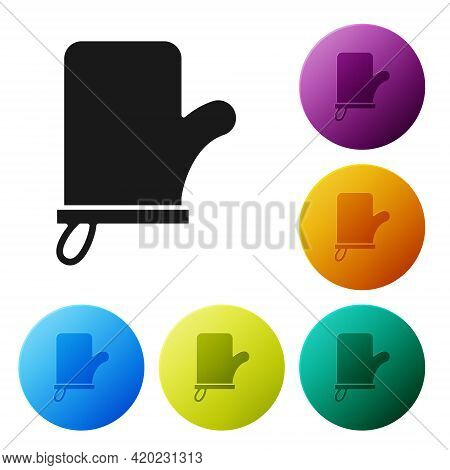 Black Sauna Mittens Icon Isolated On White Background. Mitten For Spa. Set Icons In Color Circle But