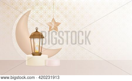 Eid Mubarak Greeting Design Background With Traditional Islamic Lantern,candle,crescent Moon And Sta
