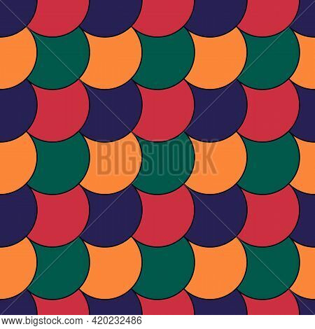 Seamless Scales Pattern. Japan Traditional Ethnic Embroidery Ornament. Repeated Color Scallops. Repe
