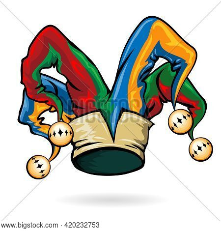Colored Jester Hat With Bells Isolated On The White Background. Vector Illustration