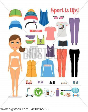 Cute Cartoon Sporty Girl With Assorted Fitness Clothing And Equipment  Emphasizing Sport Is Life Con
