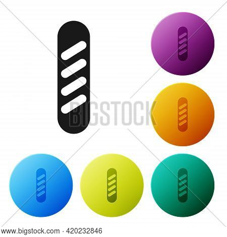 Black French Baguette Bread Icon Isolated On White Background. Set Icons In Color Circle Buttons. Ve