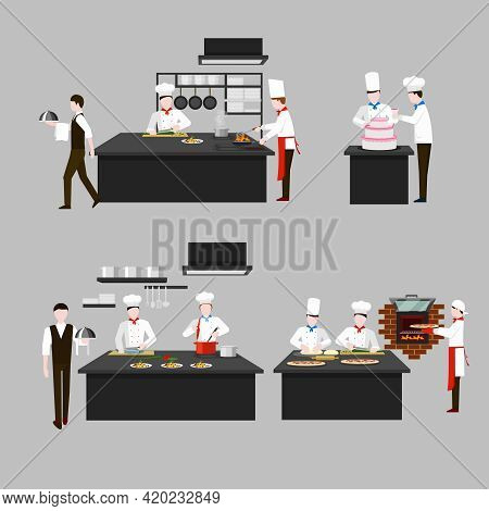 Cooking Process In Restaurant Kitchen. Chef Fry And Cook, Character People, Waiter Confectioner Scul