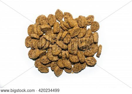 Crispy Rye Crackers Top View.salty Bread Croutons.background Of Rye Breadcrumbs.