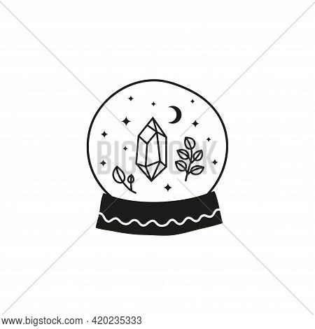 Hand Drawn Witch Glass Ball With Crystal, Stars, Crescent Moon And Leafy Branches.