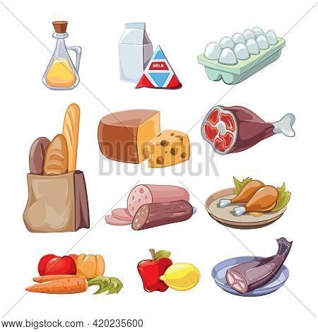 Common Everyday Food Products. Cartoon Icons Set  Provision, Cheese And Fish, Sausagesand Milk, Vect