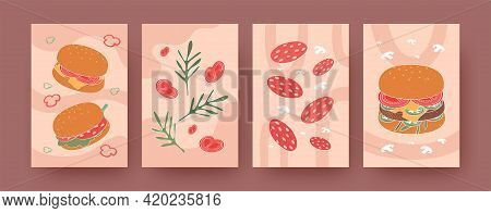 Set Of Contemporary Art Posters With Burgers And Ingredients. Hamburger, Salami, Vegetables Vector I