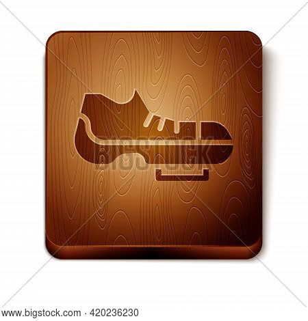 Brown Triathlon Cycling Shoes Icon Isolated On White Background. Sport Shoes, Bicycle Shoes. Wooden