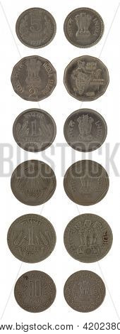 Indian rupee coins isolated on white